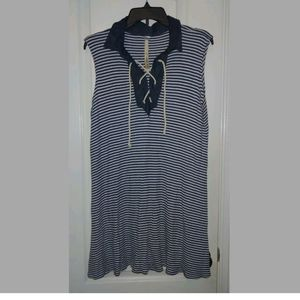 XL Uncle Frank Striped Nautical Tie Front Dress